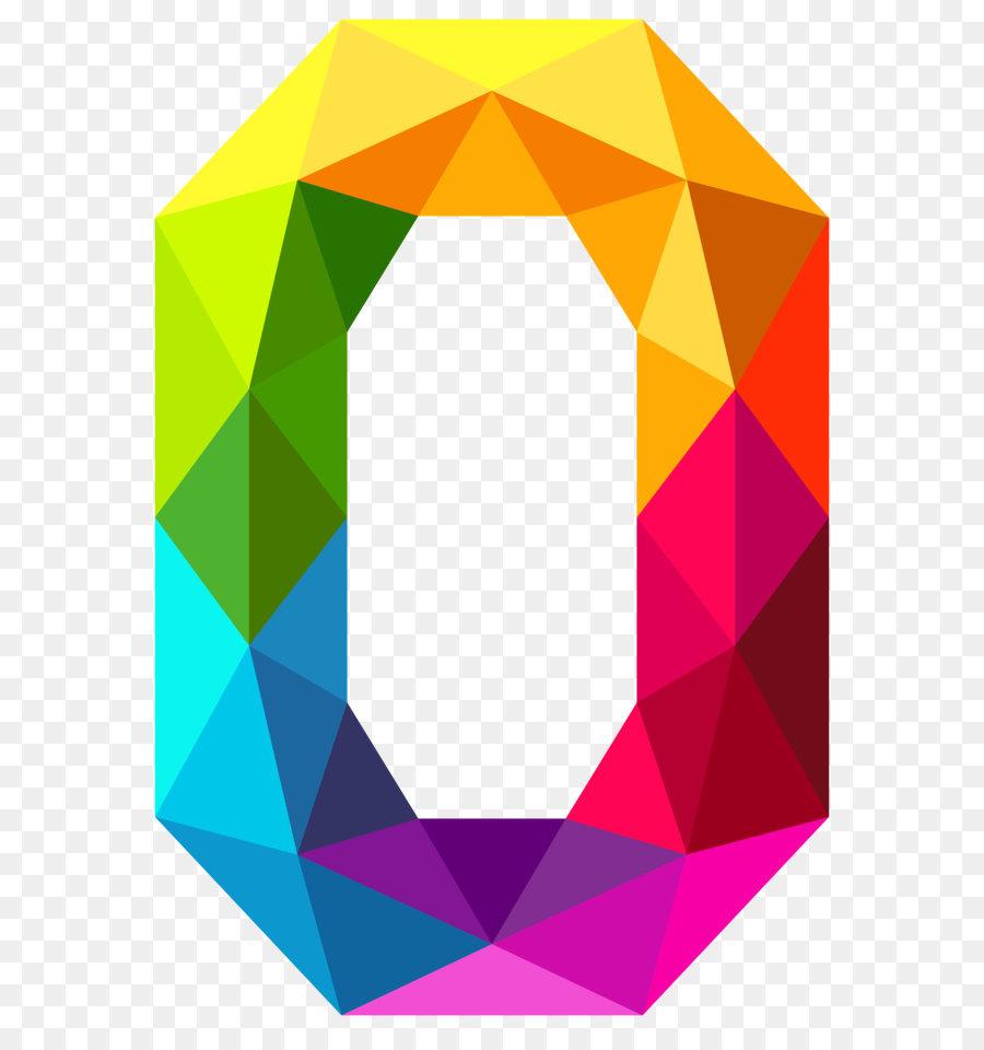 0 Anzahl Clip art - Farbenfrohe Dreiecke, die Zahl Null PNG ...