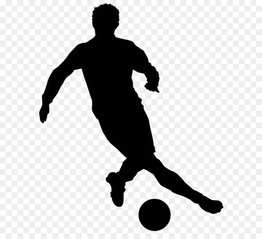Schwarz Und Weiss Freizeit Fussball Spieler Silhouette