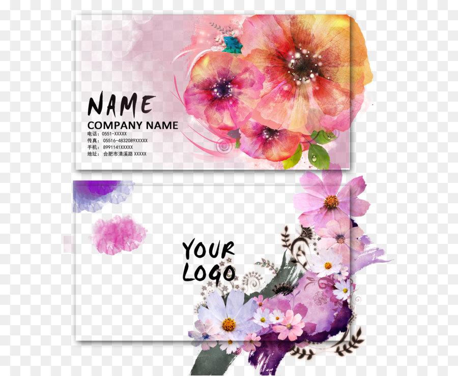 Visitenkarte Werbung Blumen Und Tinte Von Hand Gemalt