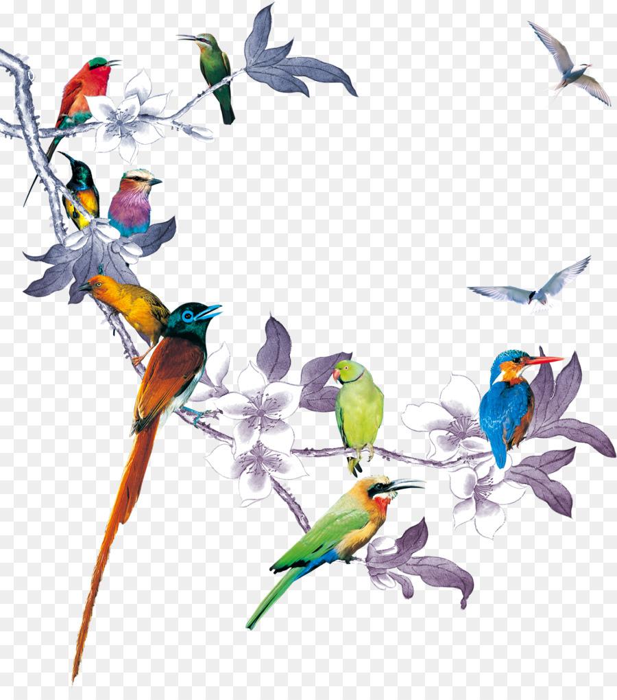 Vogel Hochzeits Einladung Papier Poster Blumeblumen