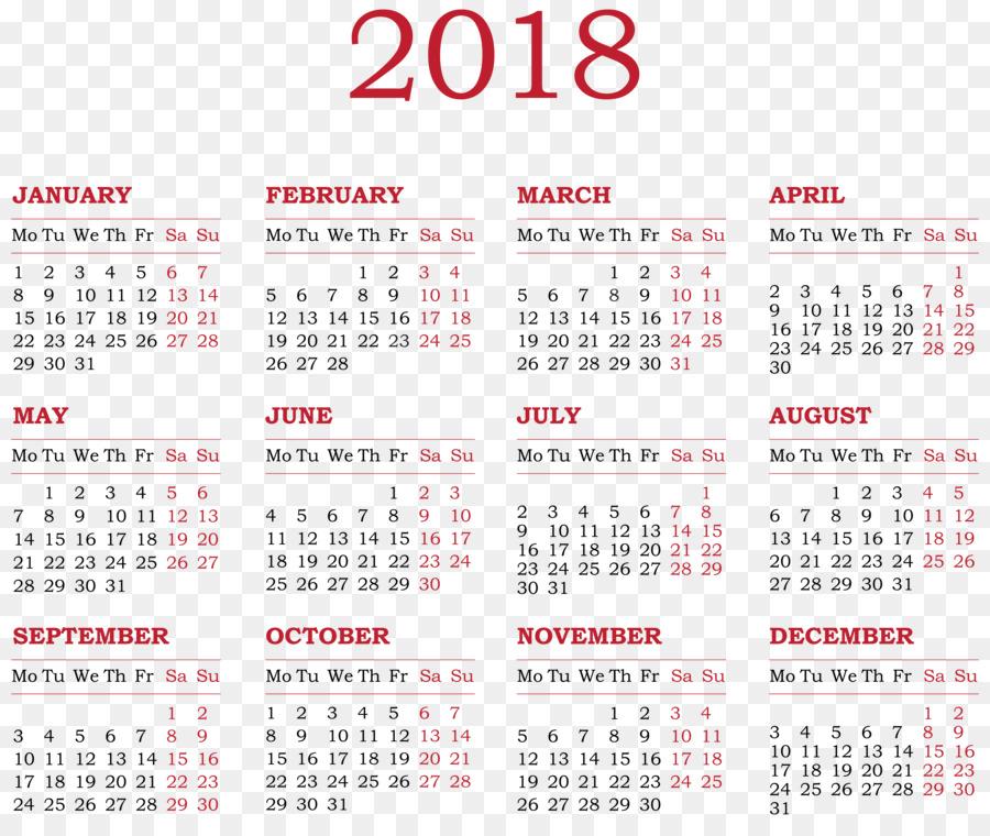 2018 Png Calendario