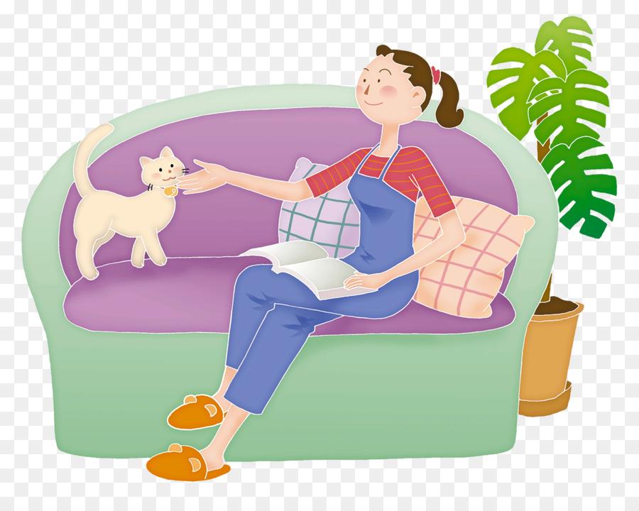Frau entspannt zu Hause während der Arbeit - Download Kostenlos Vector,  Clipart Graphics, Vektorgrafiken und Design Vorlagen