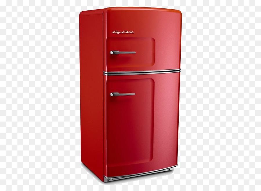 Kühlschrank, Küche, Retro-Stil, Abzugshaube Herd - Rot ...