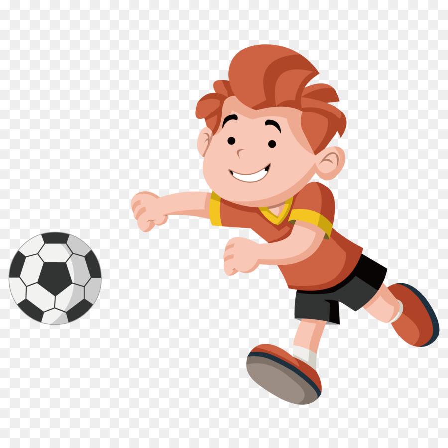 Cartoon Kind Spielen Royalty Free Fussball Junge Png
