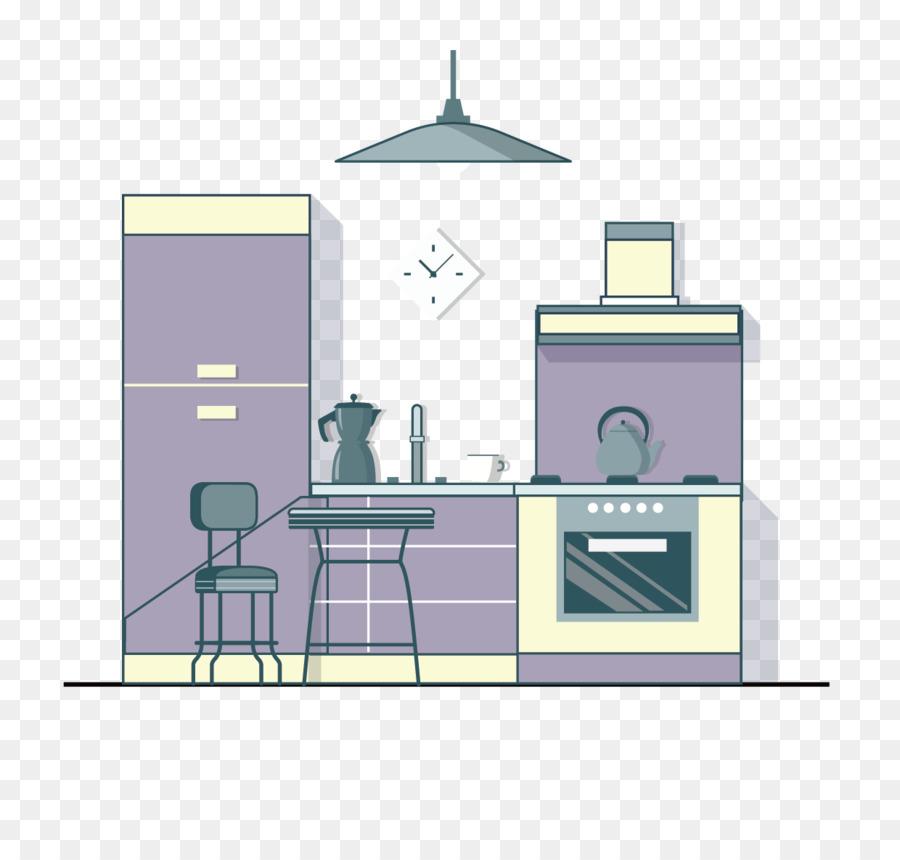 Kühlschrank-Küche-Wohnzimmer-Schlafzimmer-Abzugshaube - Lila ...