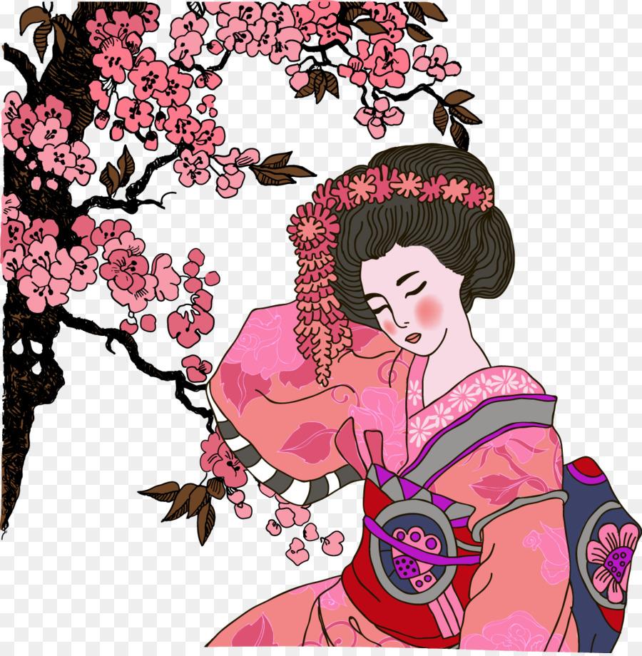 abbastanza Giappone Geisha Graphic design Illustrazione - Rosso geisha JQ92