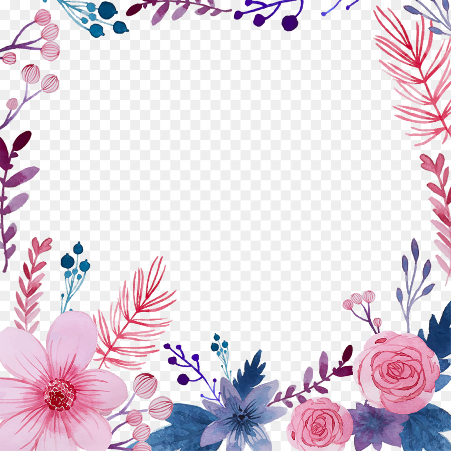 Watercolor Pink Flowers Png Download 1000 1000 Free