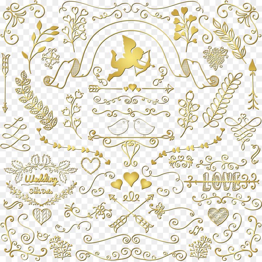 Zeichnung Florale Design Clipart Goldene Hochzeit Muster