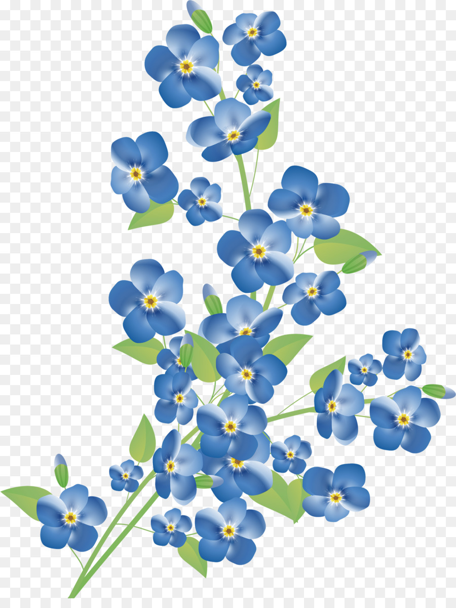 Blue Watercolor Flowers Png Download 1372 1800 Free