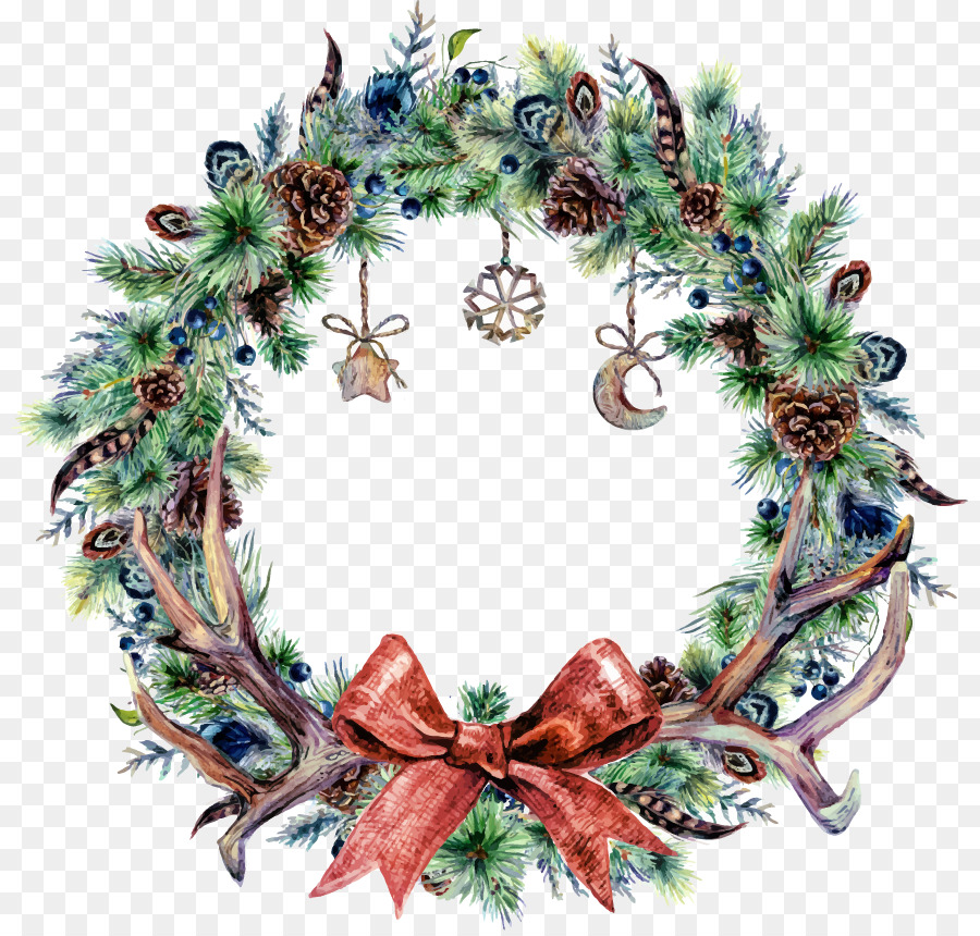 Christmas Wreath Png.Watercolor Christmas Wreath Png Download 879 855 Free