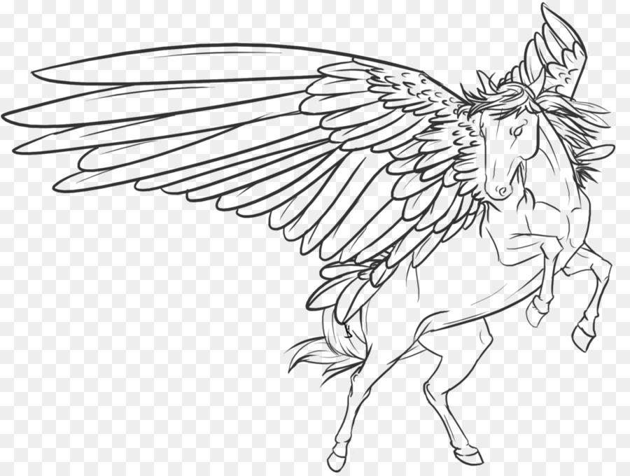Pegaso Cavallo Alato Disegno.Linea D Arte Del Cavallo Di Disegno Schizzo Pegasus Ala
