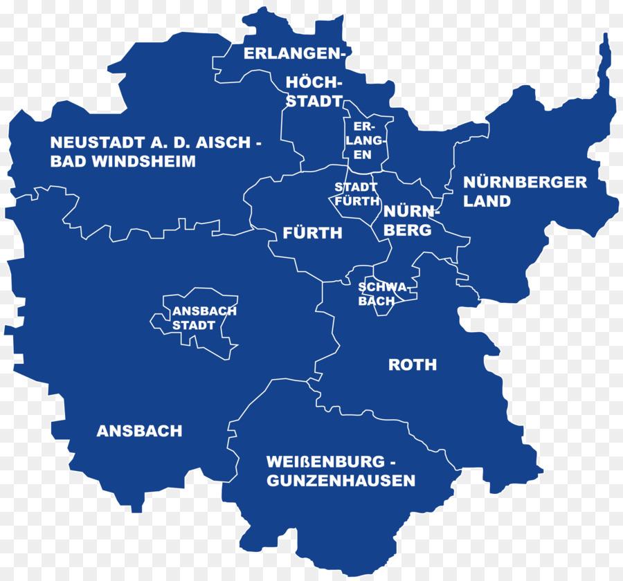 Regierungsbezirk Mittelfranken Karte
