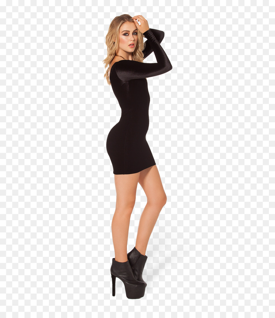 kleines schwarzes kleid mit samtärmeln - kleid png