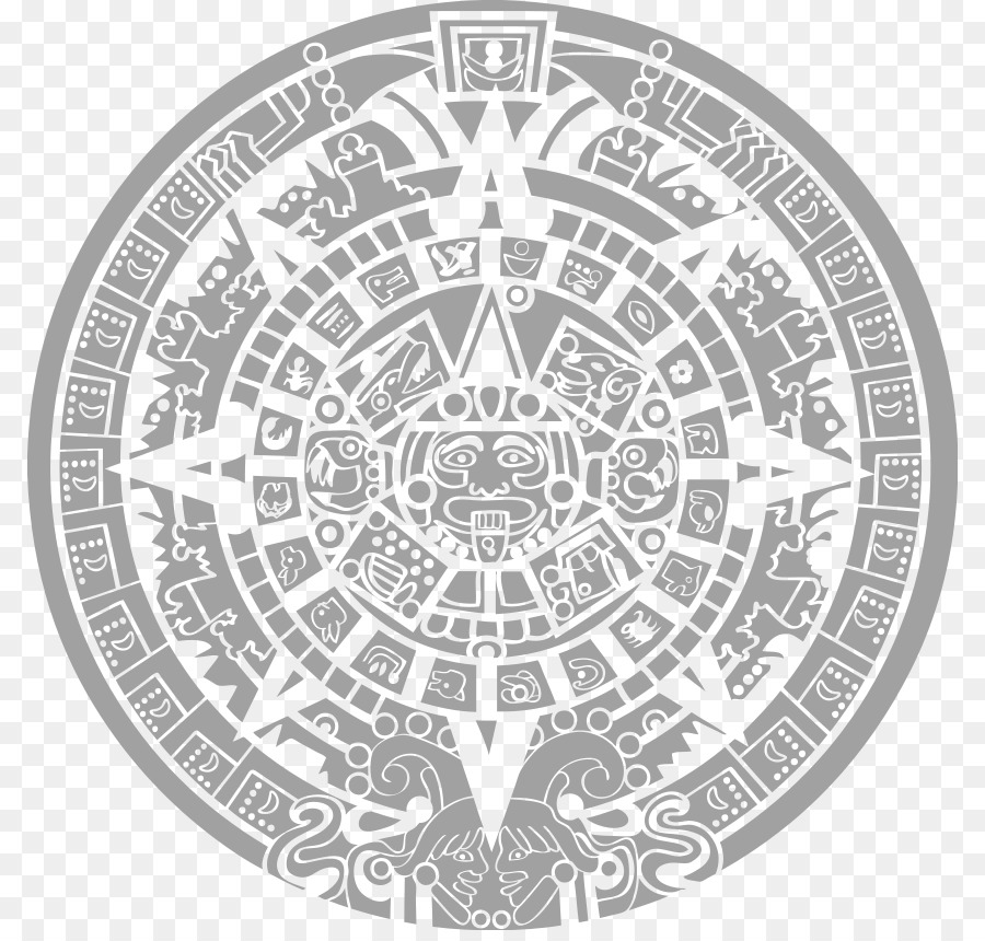 aztec calendar png black and white flower png download - * - free