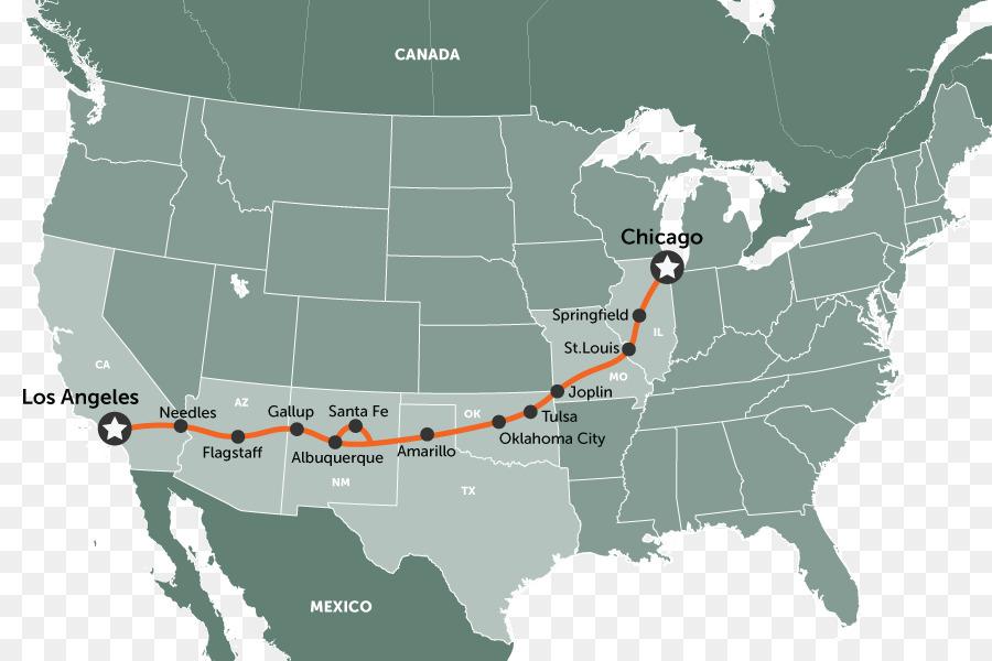 Road trip USA Route 66 Road map - Anzeigen png herunterladen ...