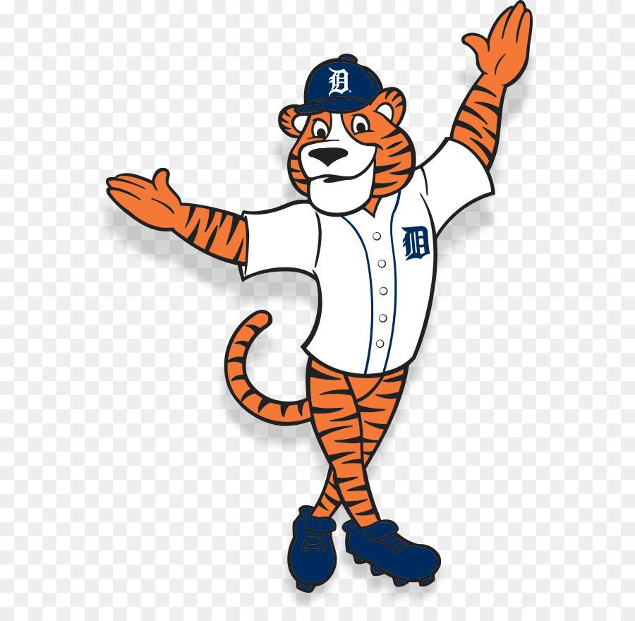Tiger baseball player mascot swinging bat at ball. A tiger baseball player  cartoon animal mascot swinging a bat at a fast
