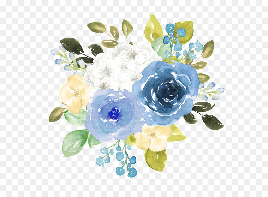 Blue Watercolor Flowers Png Download 650 650 Free