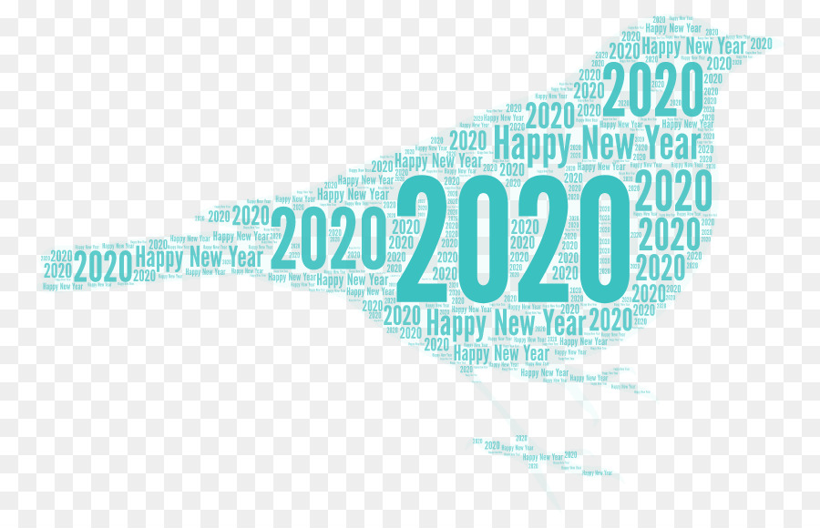 Happy new year 2020 poster with golden brush